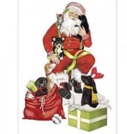 santa with puppies flour sack towel