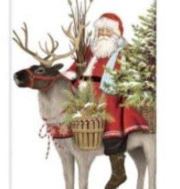 pine santa with reindeer flour sack towel