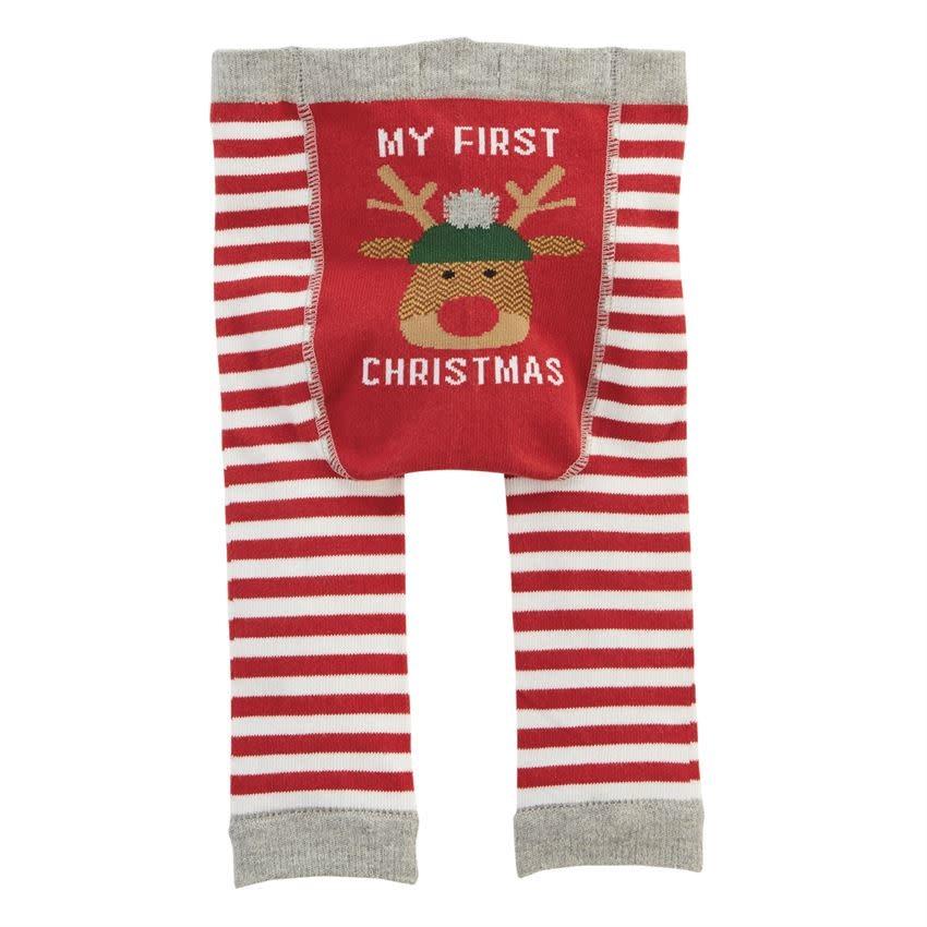 MUD PIE CHRISTMAS KNITTED LEGGINGS 0-6 MONTHS