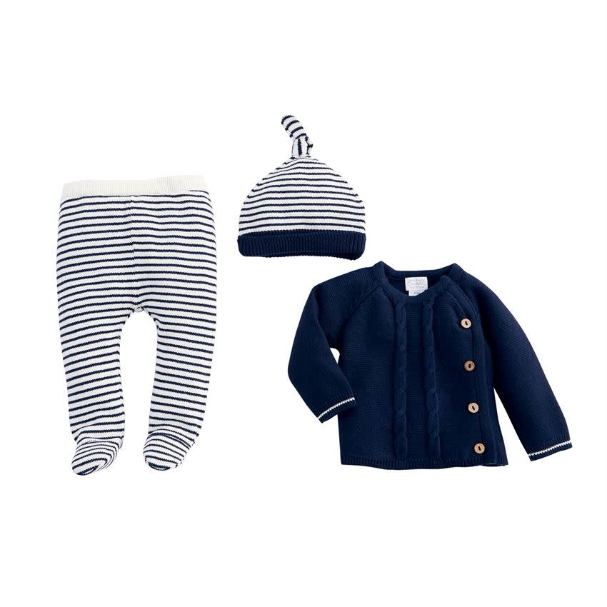 MUD PIE NAVY TAKE-ME HOME SET
