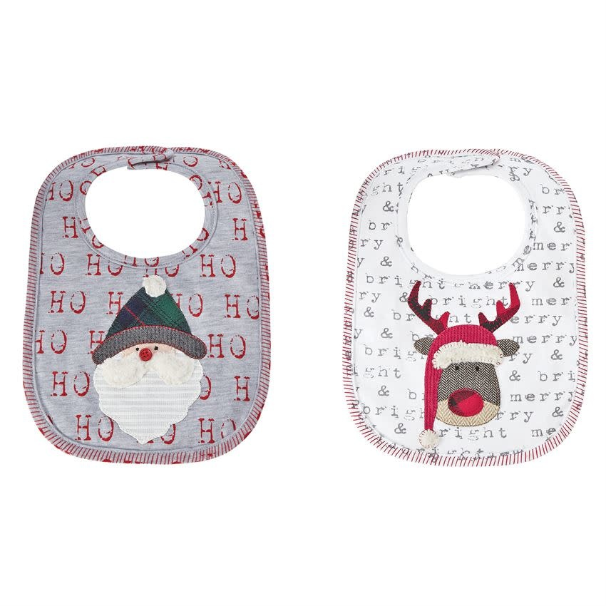 MUD PIE REINDEER & SANTA SENTIMENT BIBS