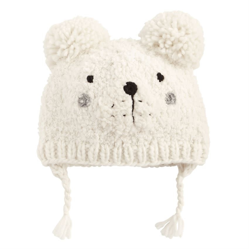 MUD PIE WHITE BEAR KNITTED HAT