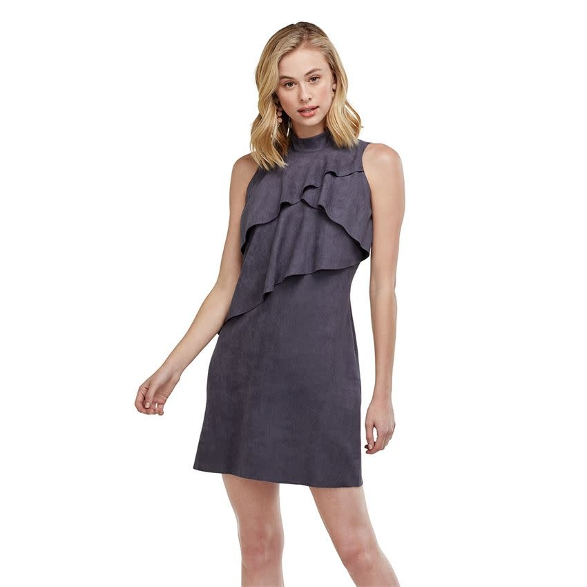 MUD PIE CARLEY SUEDE DRESS- STONEWASH
