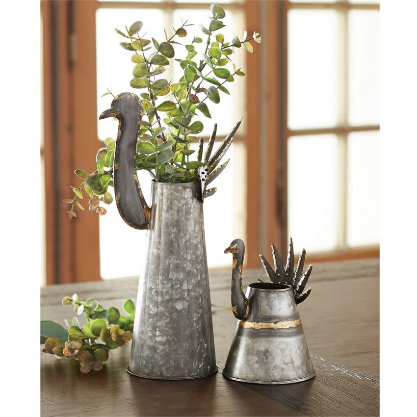 MUD PIE GALVANIZED TURKEY TIN VASES
