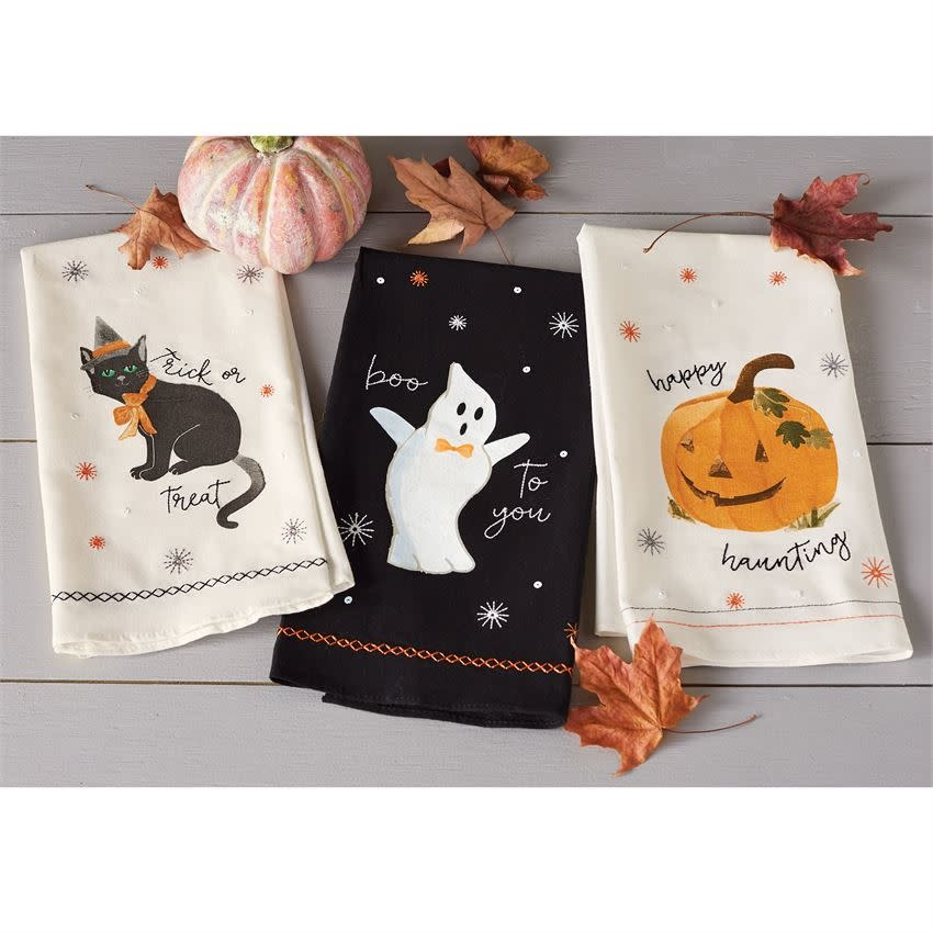 MUD PIE HALLOWEEN SEQUIN HAND TOWELS