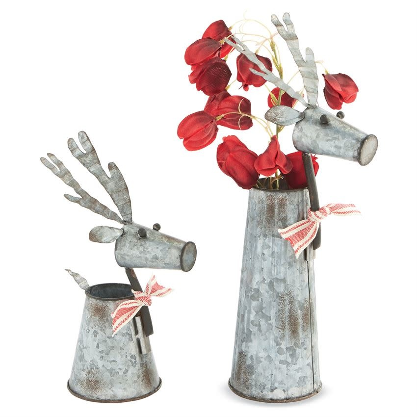 MUD PIE TIN REINDEER VASES