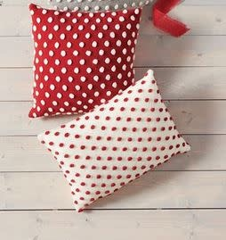 MUD PIE RED POM POM PILLOWS