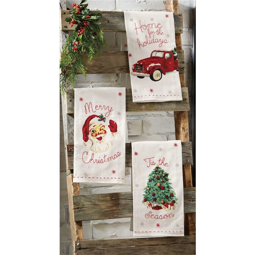 MUD PIE VINTAGE CHRISTMAS TOWELS