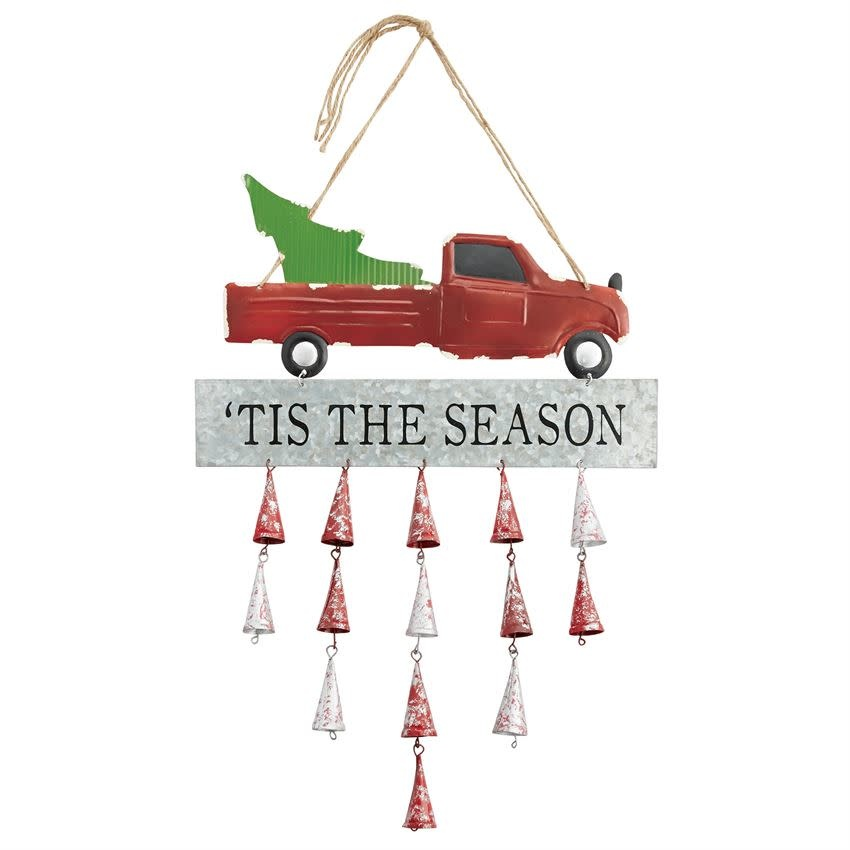 MUD PIE RED TRUCK TIN BELL DOOR HANGER
