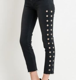 HIGH WAIST EYELET ANKLE STRAIGHT JEANS