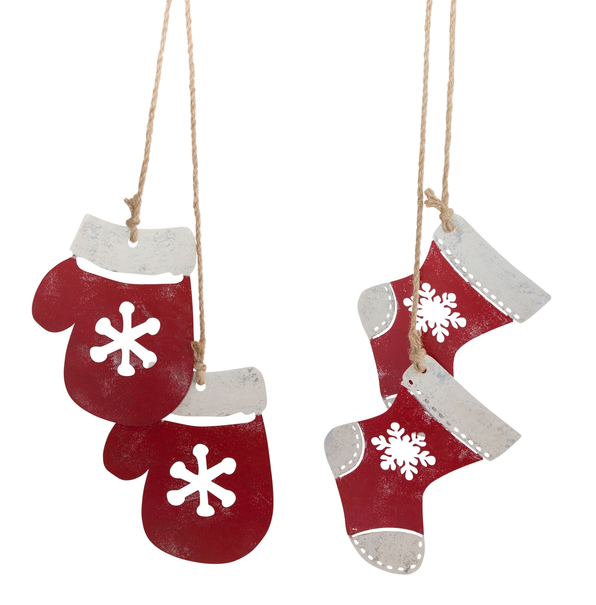 STOCKING AND MITTEN METAL ORNAMENTS