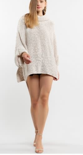 COZY COWL DRAPED NECK SWEATER