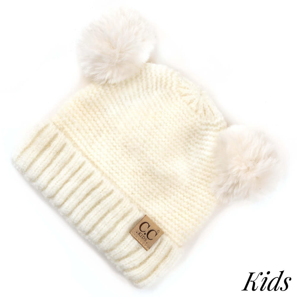 C.C BEANIES kids solid double fur pom lined beanie
