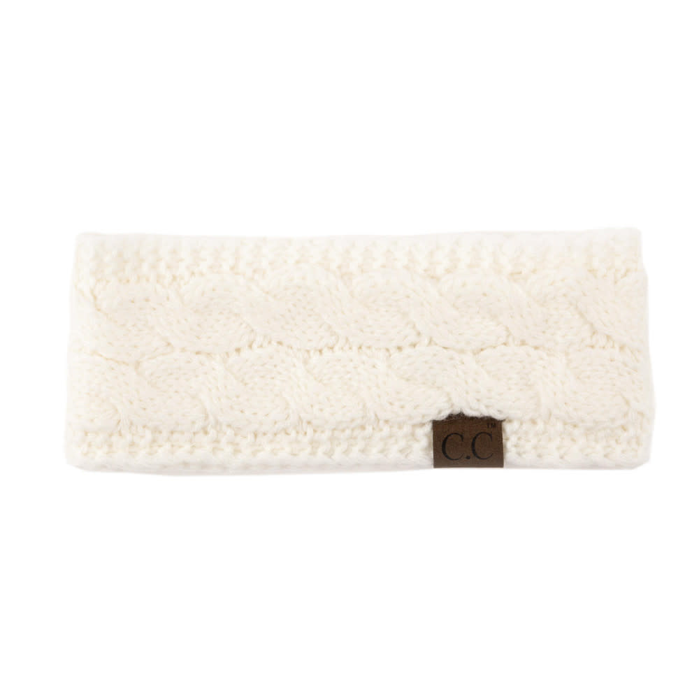 C.C BEANIES SOLID CABLE KNIT CC HEAD WRAP