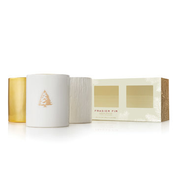 THYMES FRASIER FIR GILDED POURED CANDLE TRIO SET