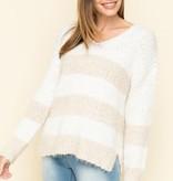 two tone popcorn sweater