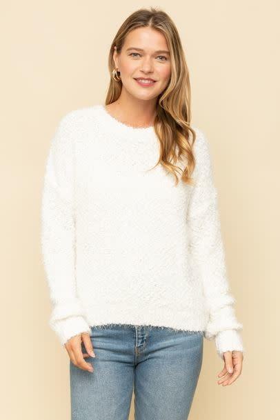 popcorn shiny cropped sweater