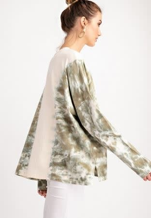 IVORY TOP W/FADED OLIVE TIE DYE SLEEVES & SIDES