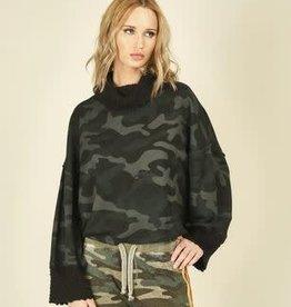 VINTAGE HAVANA black camo print cowlneck sweater shirt