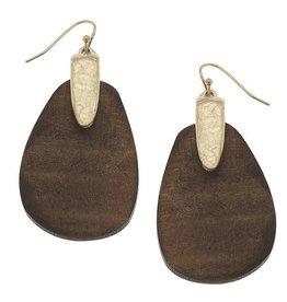 CANVAS Abra drop earrings in brown wood