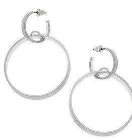 CANVAS Sloan linked hoop earrings in silver satin