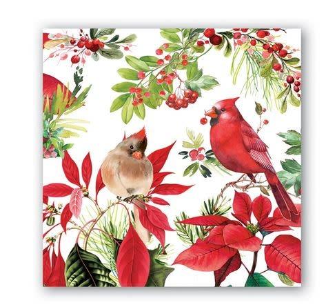 MICHEL DESIGN WORKS Poinsettia cocktail napkin