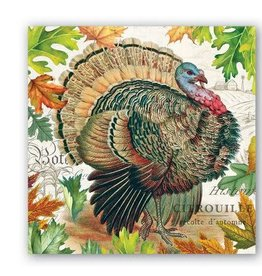 MICHEL DESIGN WORKS Fall harvest turkey cocktail napkin