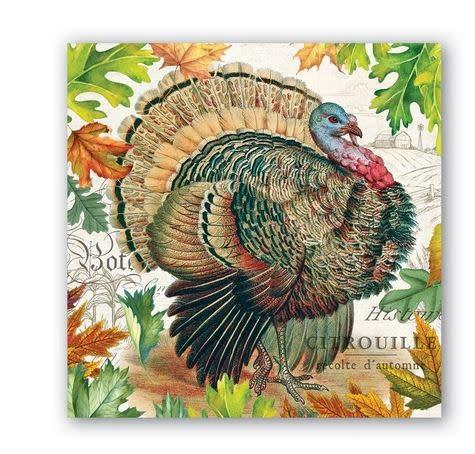 MICHEL DESIGN WORKS Fall harvest turkey cocktail napkin