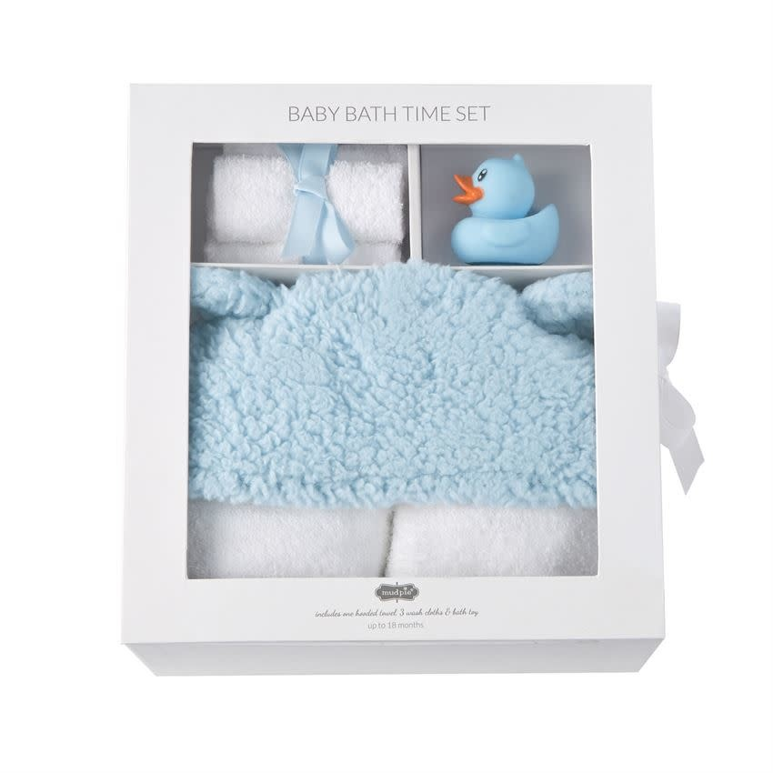 MUD PIE BLUE BABY BATH TIME SET