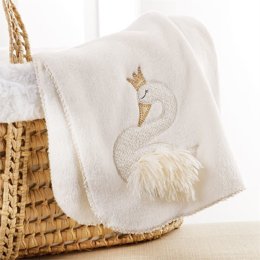 MUD PIE SWAN FLEECE BLANKET