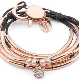 LIZZY JAMES eloise wrap bracelet/necklace- rose gold- w/crystal paw