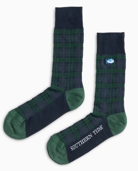 SOUTHERN TIDE MISTLETOE PLAID SOCKS