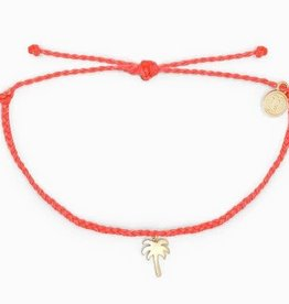 PURAVIDA palm tree bracelet- STRAWBERRY w/gold charm