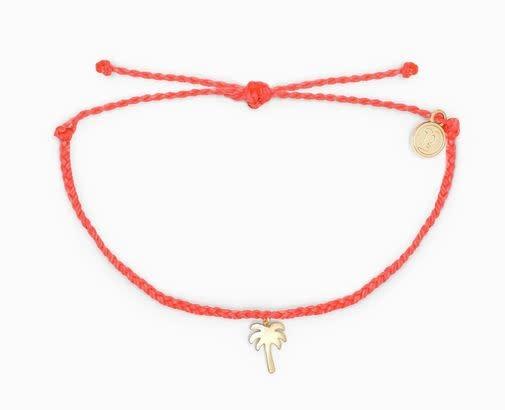PURAVIDA palm tree bracelet- STRAWBERRY w/gold charm