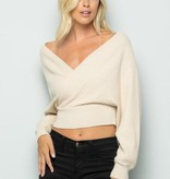 olive scent Off shoulder crop sweater