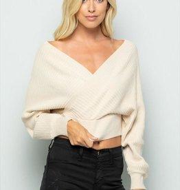olive scent Off shoulder crop sweater