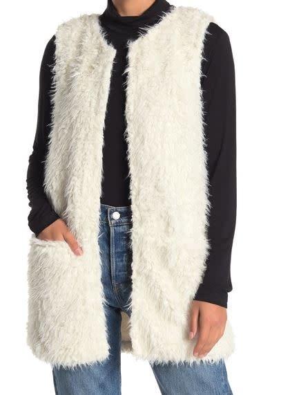ANGIE ivory faux fur vest