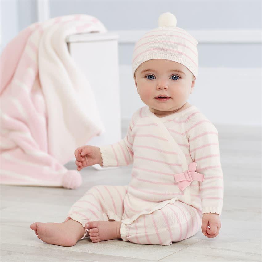 MUD PIE pink & ivory stripe knitted gift set 0-3 months