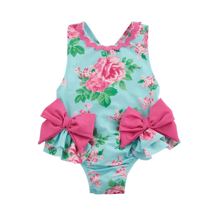 MUD PIE rose bow infant swimsuit