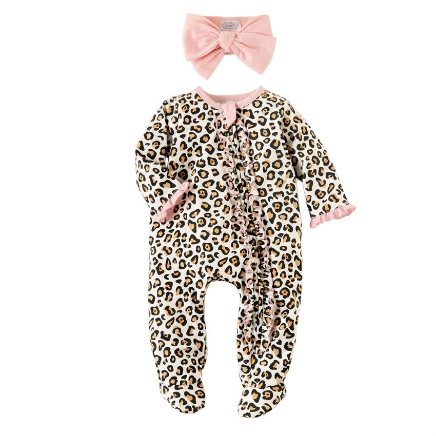 MUD PIE leopard sleeper & headband