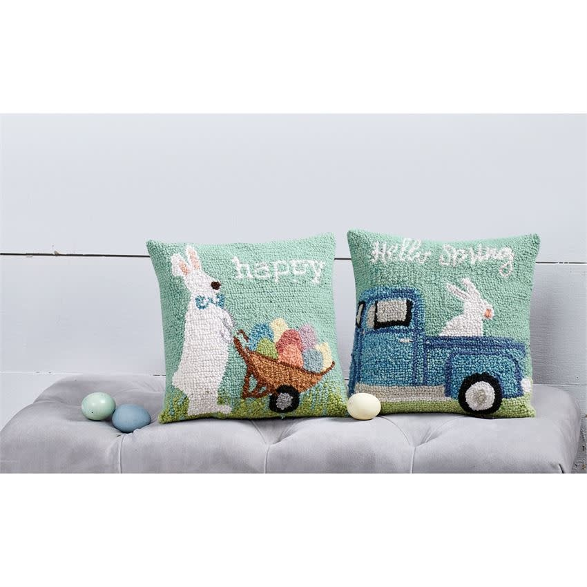 MUD PIE bunny hooked pillows