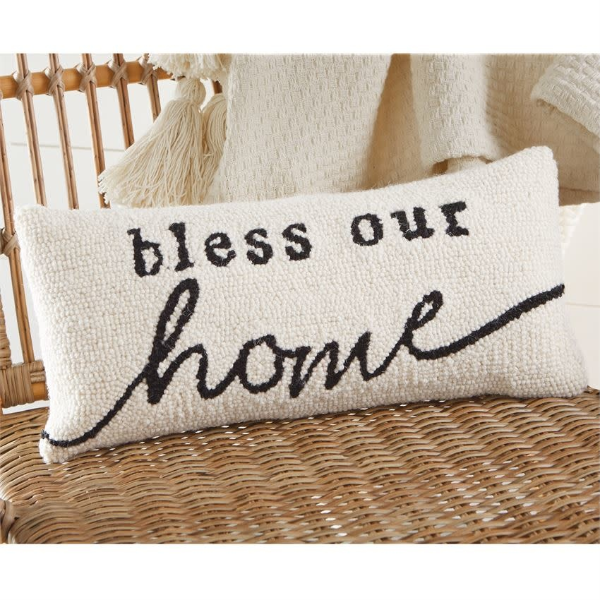 MUD PIE bless our home hooked pillow