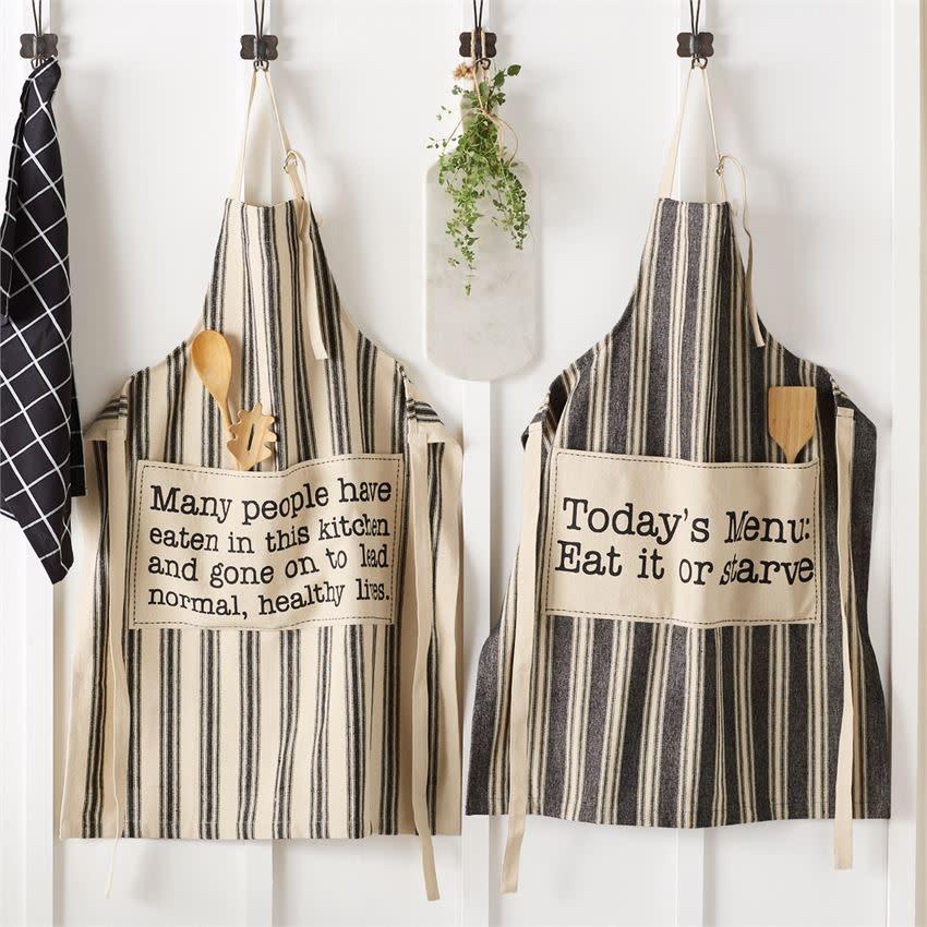 MUD PIE black & white grainsack aprons