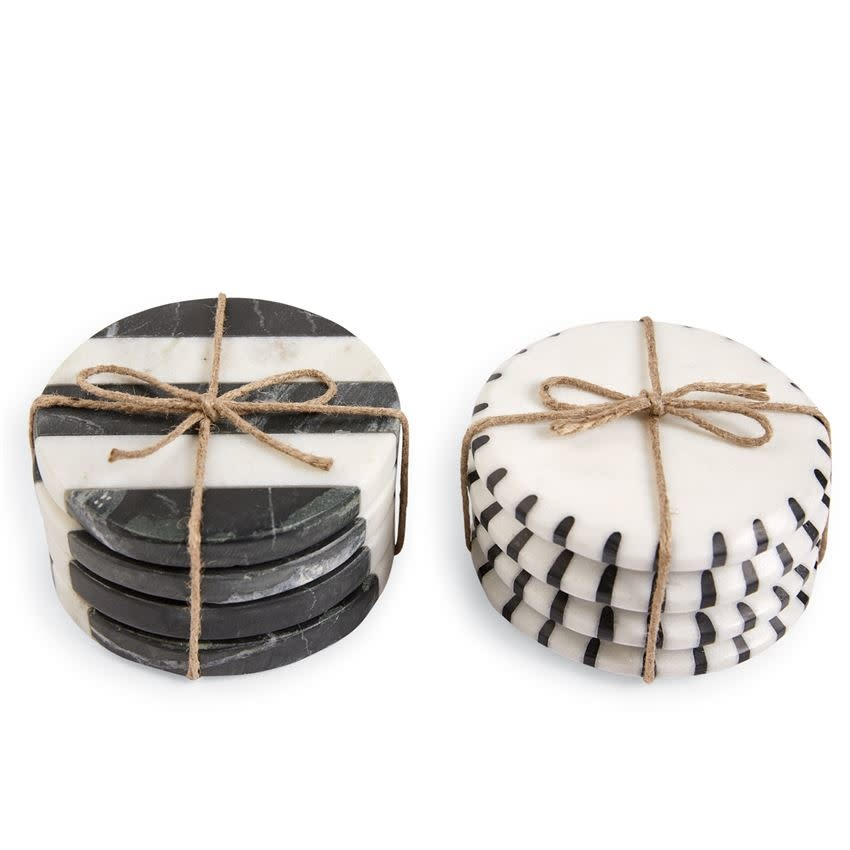 MUD PIE black & white marble coasters