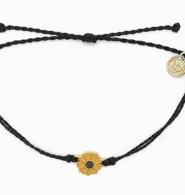 PURAVIDA GOLD ENAMEL SUNFLOWER BRACELET-BLACK