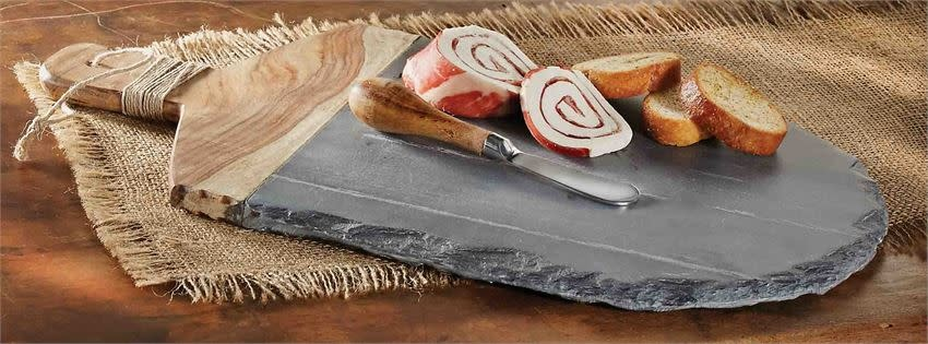 MUD PIE slate & wood charcuterie board