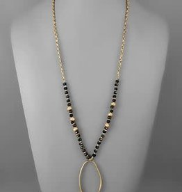 OVAL PENDANT BEADED NECKLACE- JET