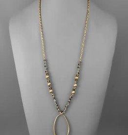 OVAL PENDANT BEADED NECKLACE- BLK DIAMOND
