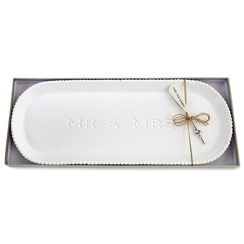 MUD PIE MR AND MRS BEADED HOSTESS TRAY SET