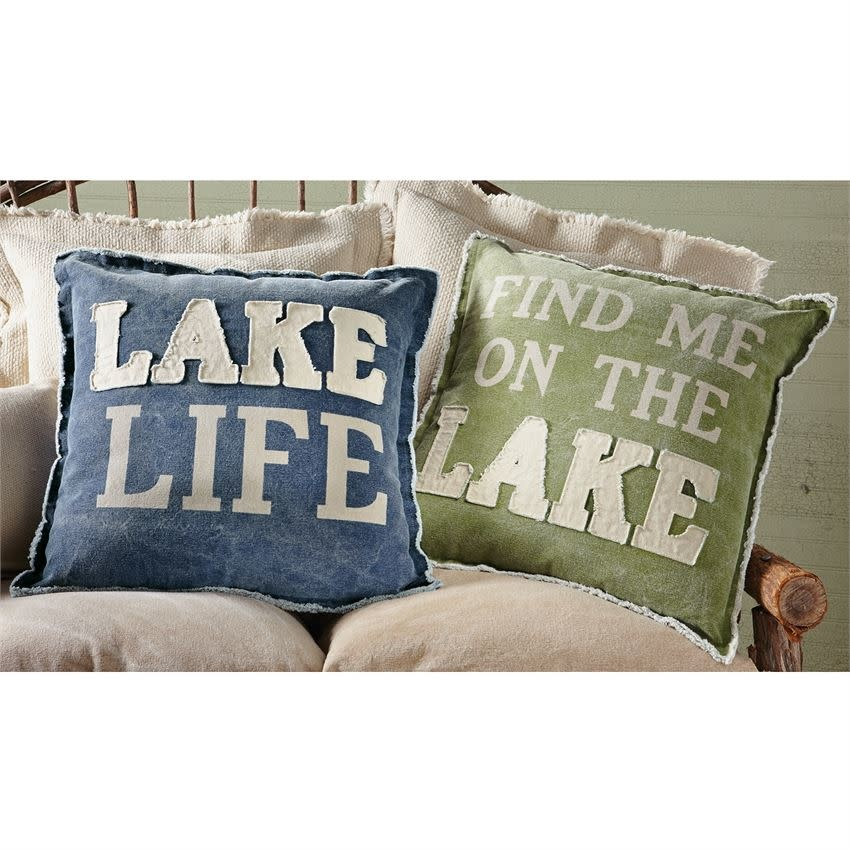 MUD PIE WASHED CANVAS LAKE PILLOWS